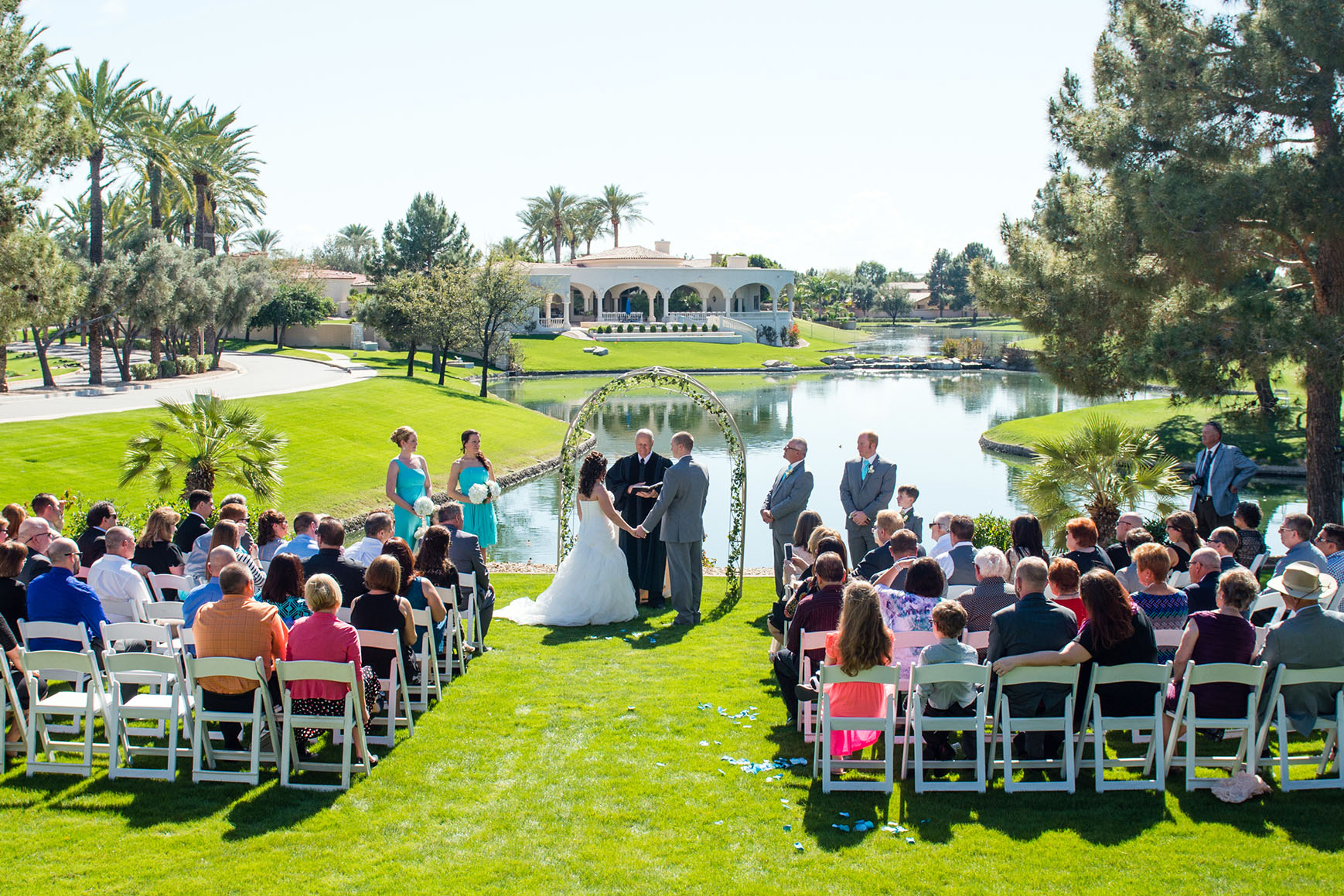 Lakeside ceremony - Ocotillo - Chandler, Arizona - Maricopa County - Wedgewood Weddings