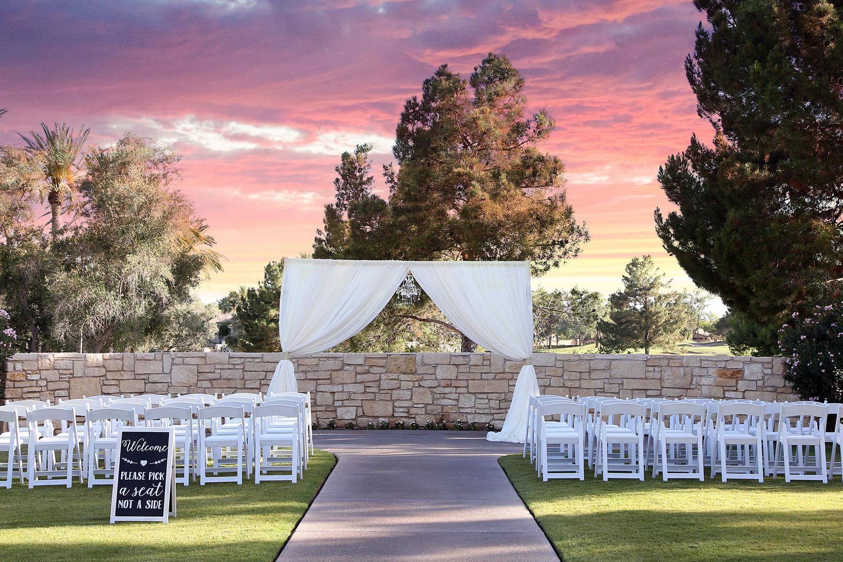 Sunset ceremony - Ocotillo - Chandler, Arizona - Maricopa County - Wedgewood Weddings