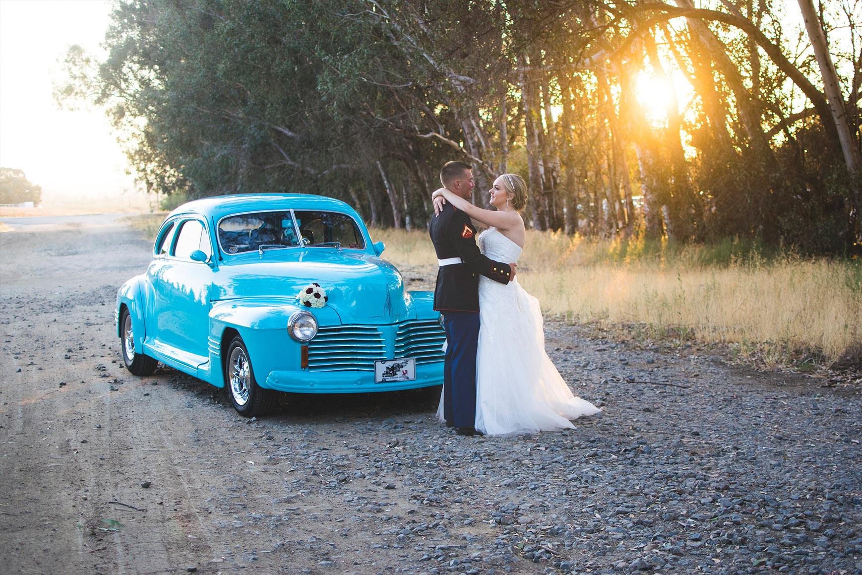 Classic blue car - Orchard - Menifee, California - Riverside County - Wedgewood Weddings