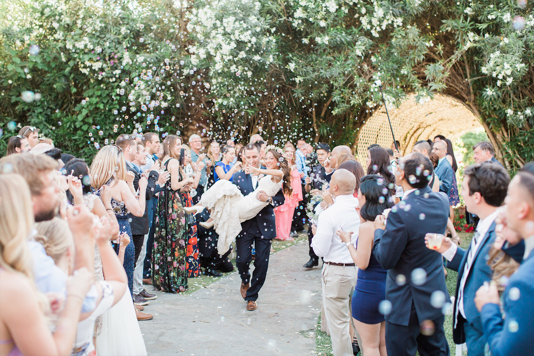 Grand entrance with bubbles - Orchard - Menifee, California - Riverside County - Wedgewood Weddings