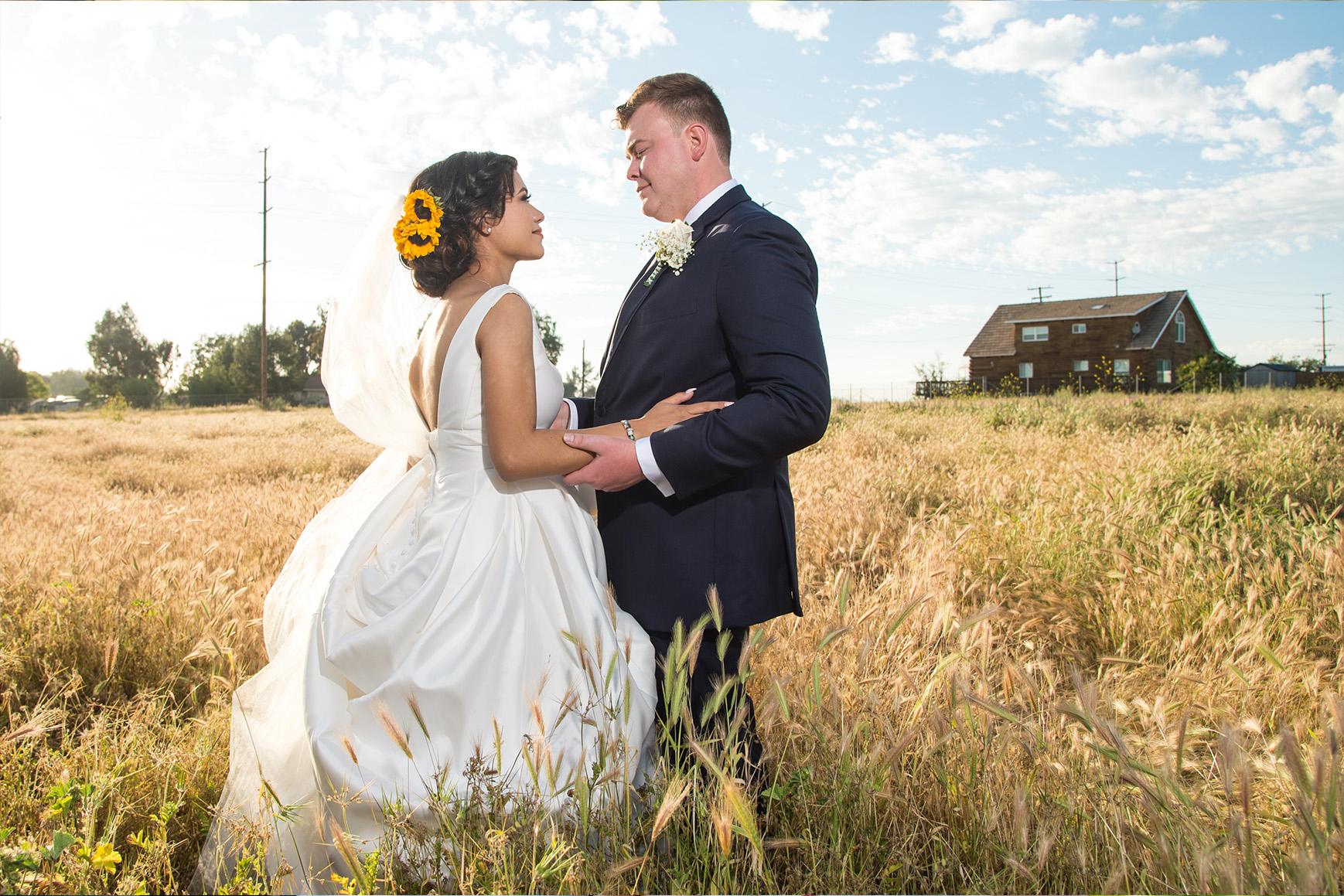 Couple in the field - Orchard - Menifee, California - Riverside County - Wedgewood Weddings