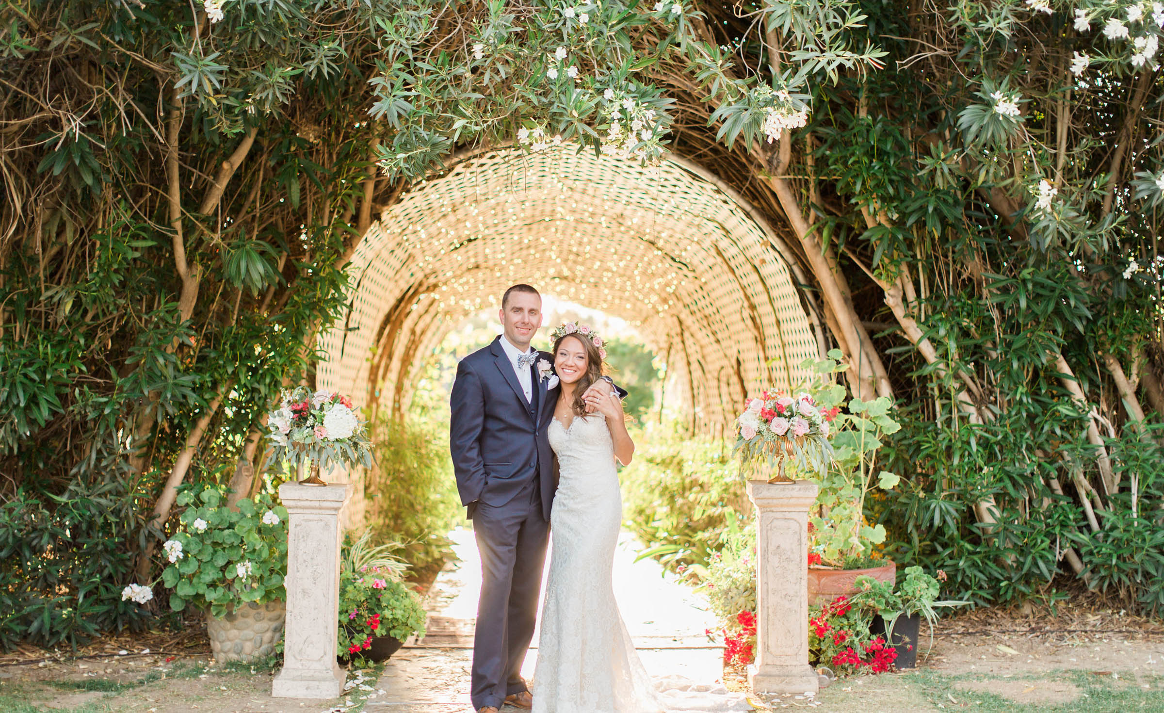 Twinkle lights tunnel  - Orchard - Menifee, California - Riverside County - Wedgewood Weddings