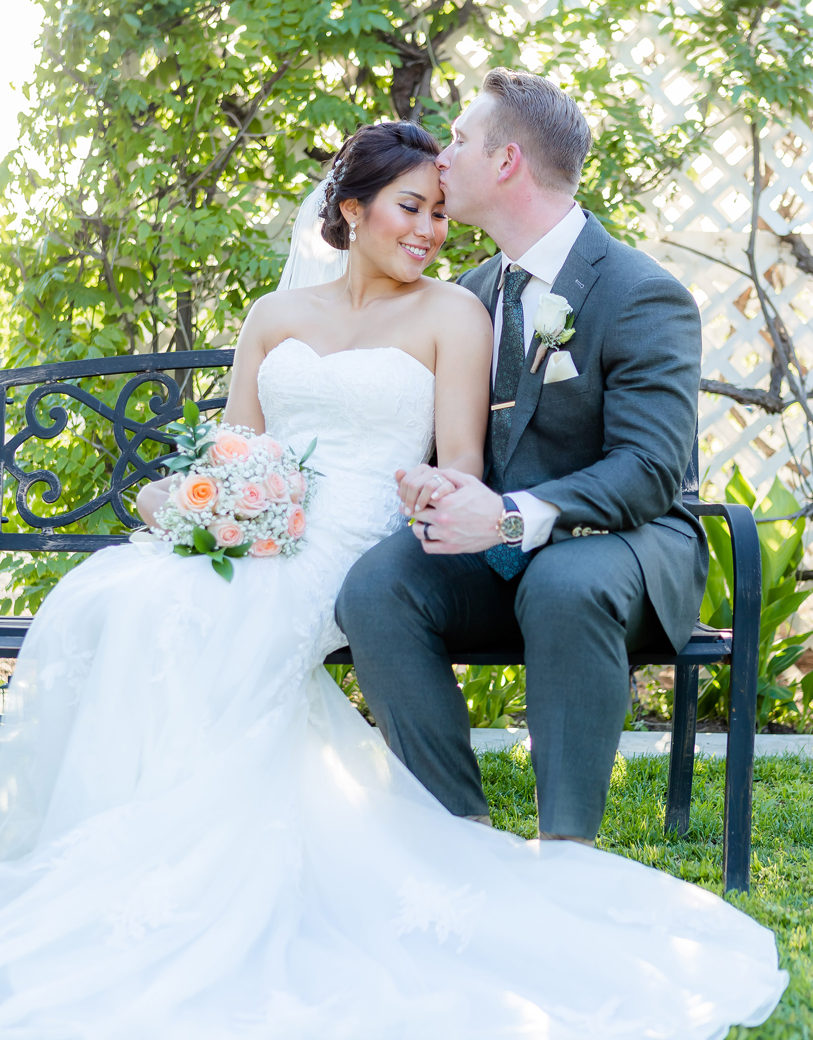 Bride & groom on garden bench - Orchard - Menifee, California - Riverside County - Wedgewood Weddings