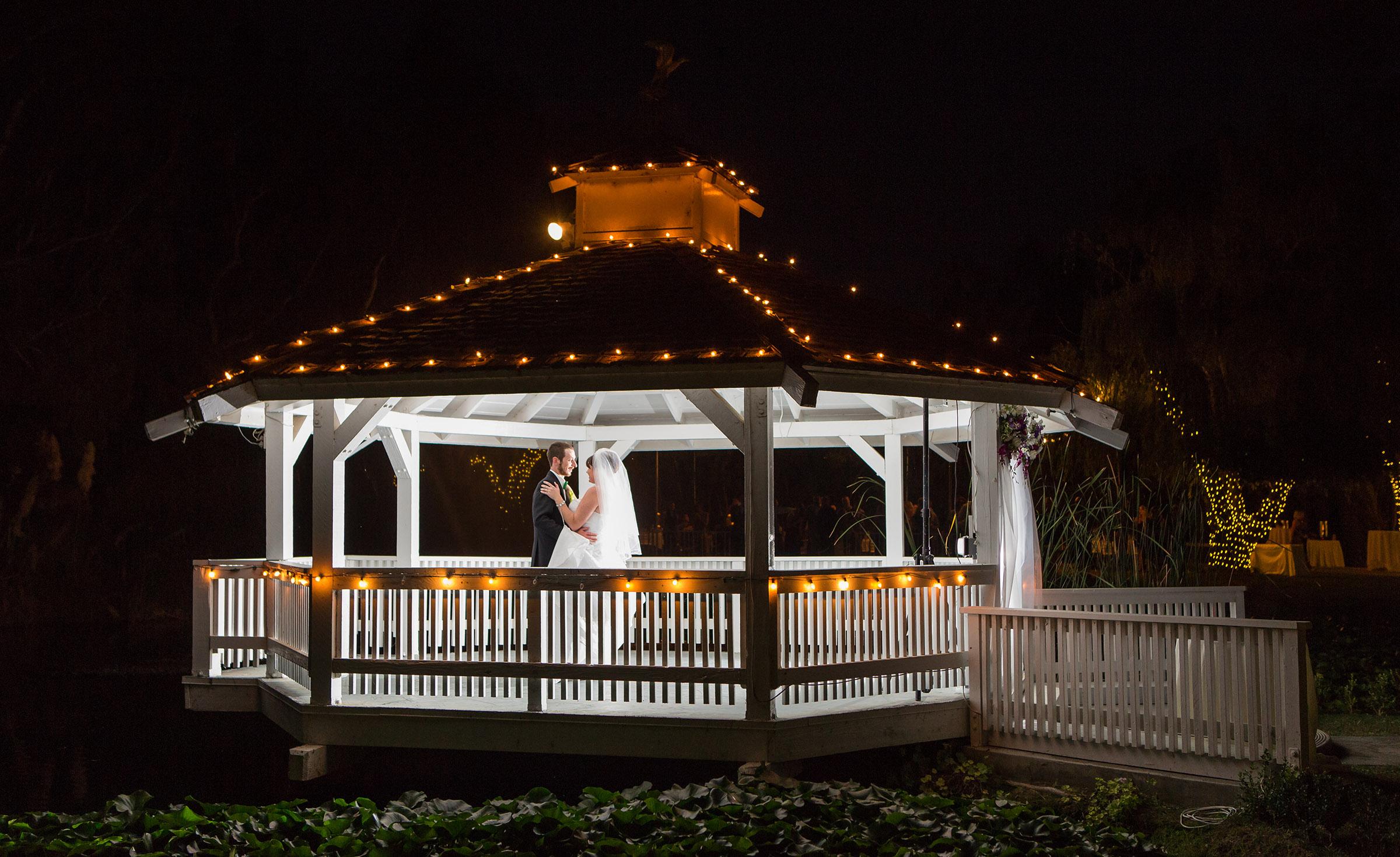Gazebo at night - Orchard - Menifee, California - Riverside County - Wedgewood Weddings