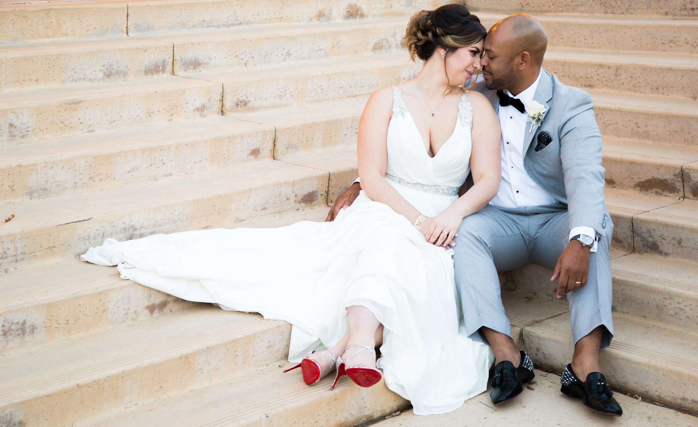 Bride & groom on the steps - The Retreat - Corona, California - Riverside County - Wedgewood Weddings