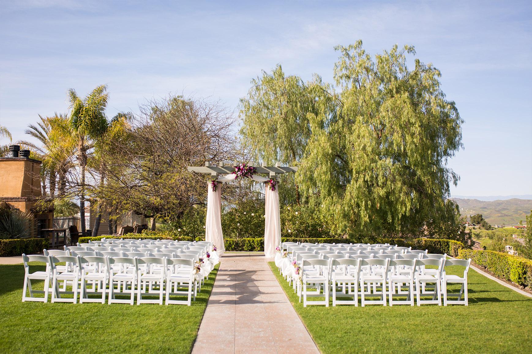 Romantic ceremony setup - The Retreat - Corona, California - Riverside County - Wedgewood Weddings