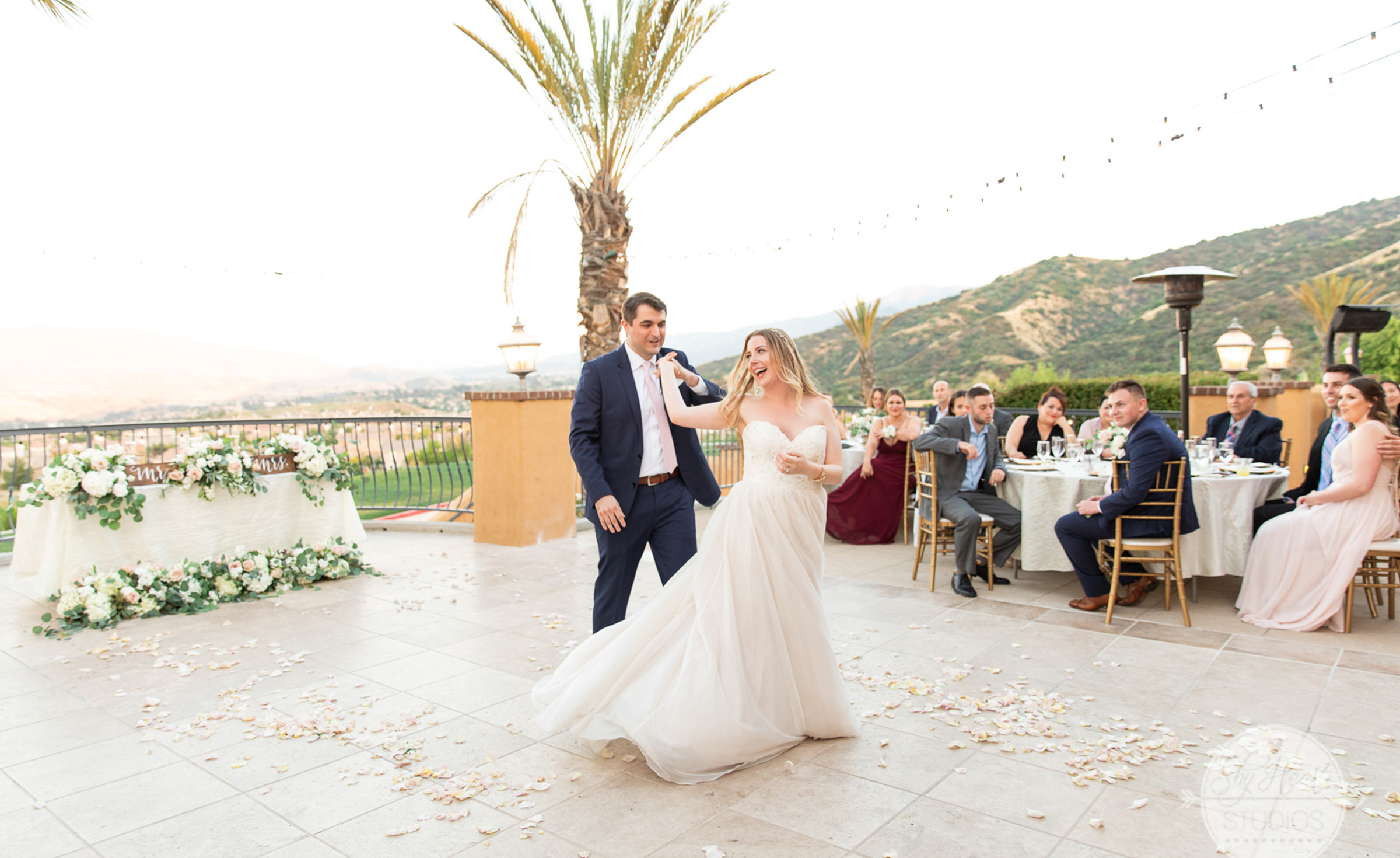 Outdoor terrace reception - The Retreat - Corona, California - Riverside County - Wedgewood Weddings