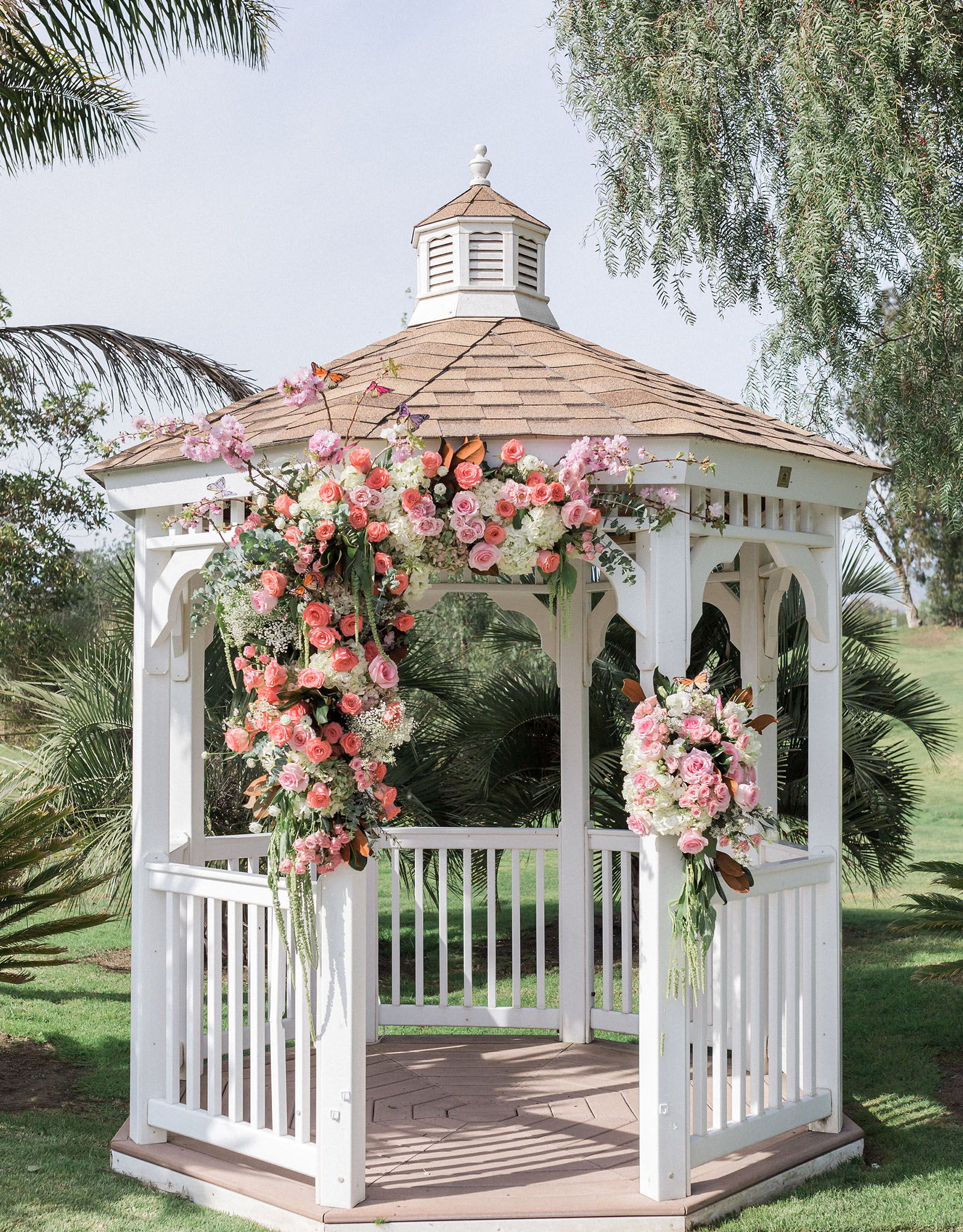 Garden Ceremony Site with Couple Kissing - Sterling Hills - Camarillo, California - Ventura County - Wedgewood Weddings