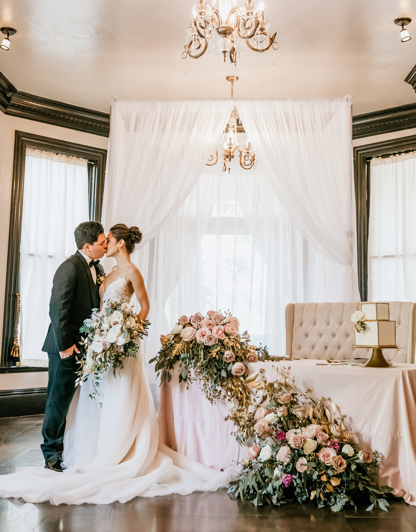 Romantic reception kiss - Sterling Hotel - Sacramento, California - Sacramento County - Wedgewood Weddings