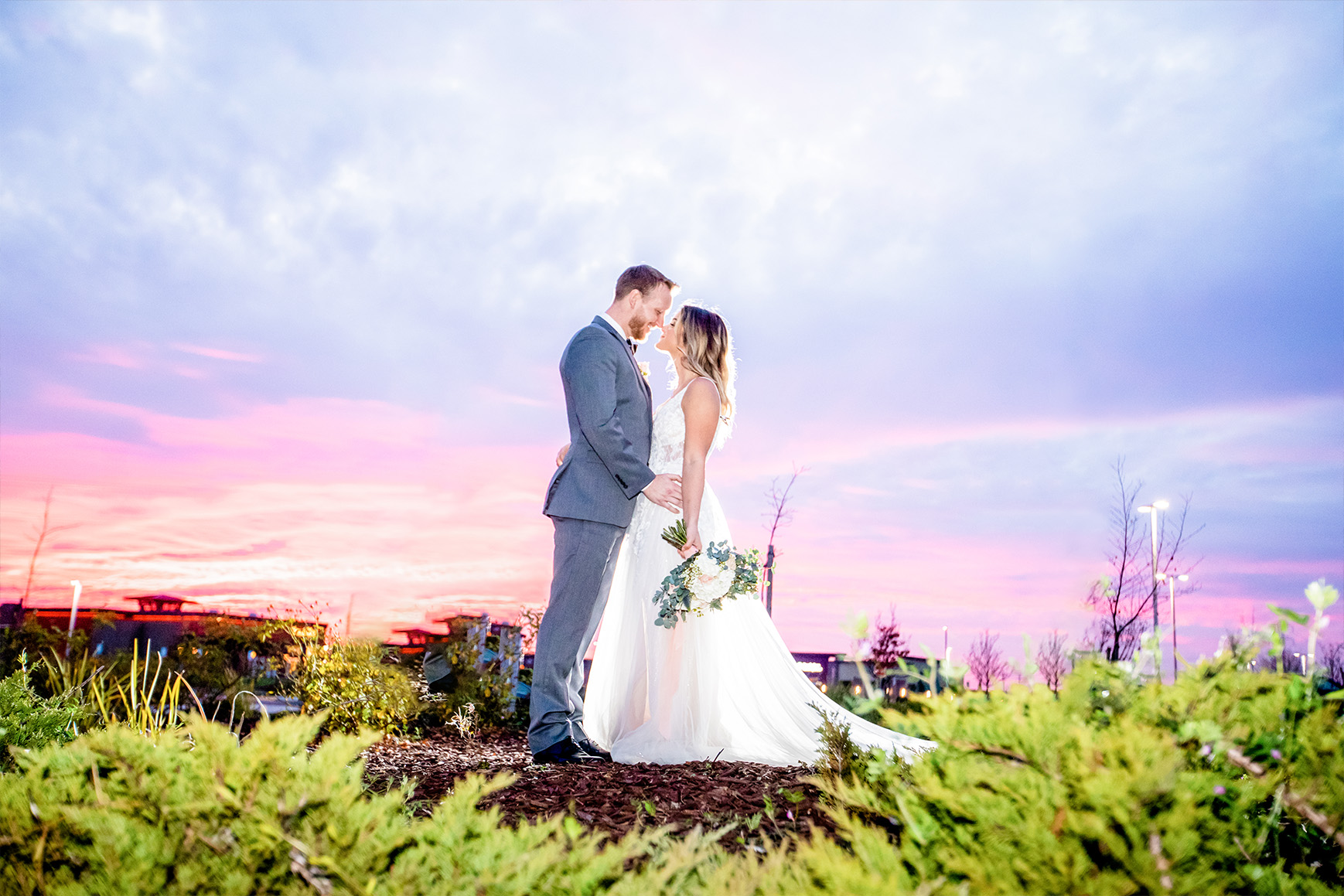 Bride and Groom at sunset - Union Brick - Roseville, California, Placer County - Wedgewood Weddings