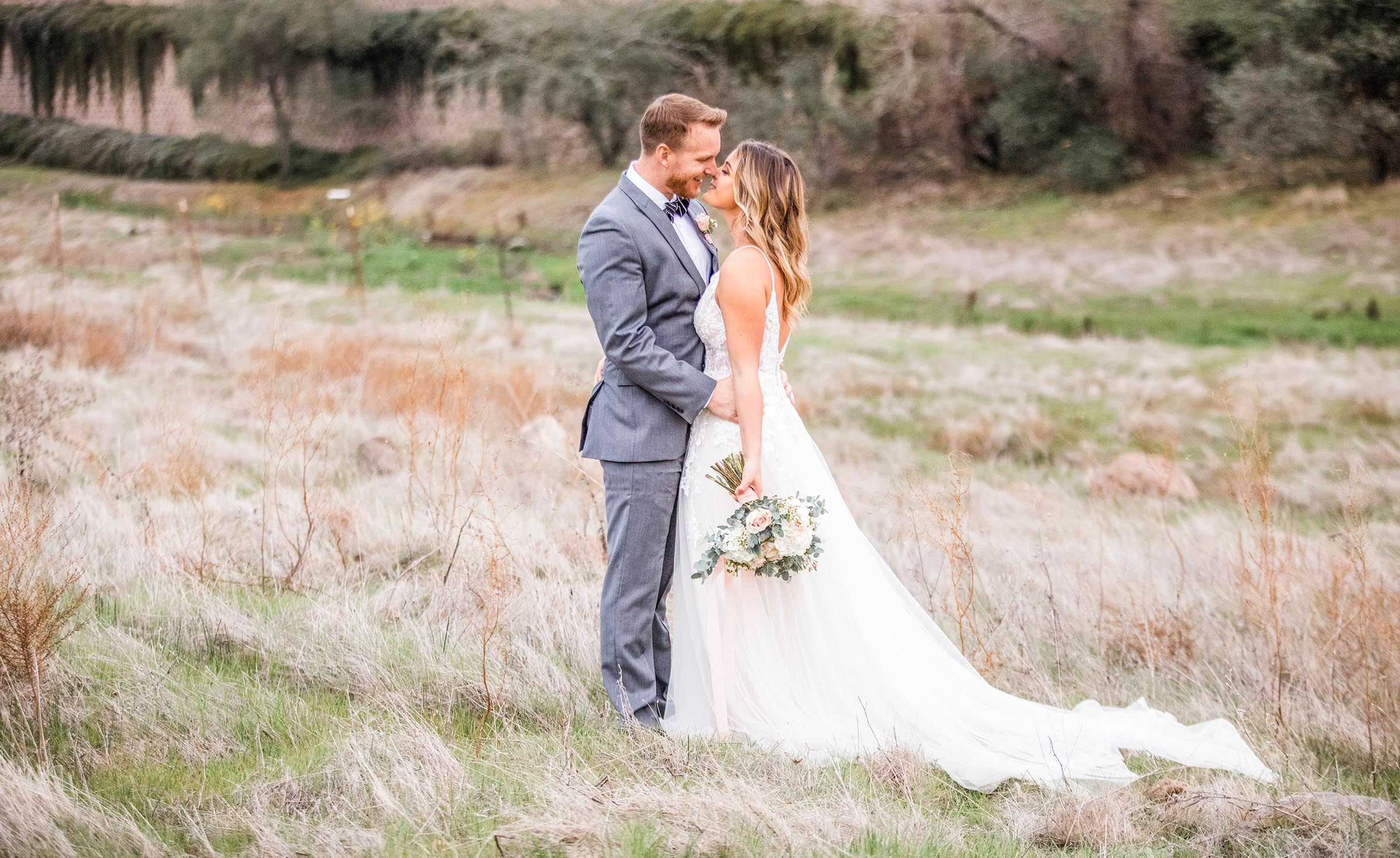 Bride and Groom posing for photos - Union Brick - Roseville, California, Placer County - Wedgewood Weddings
