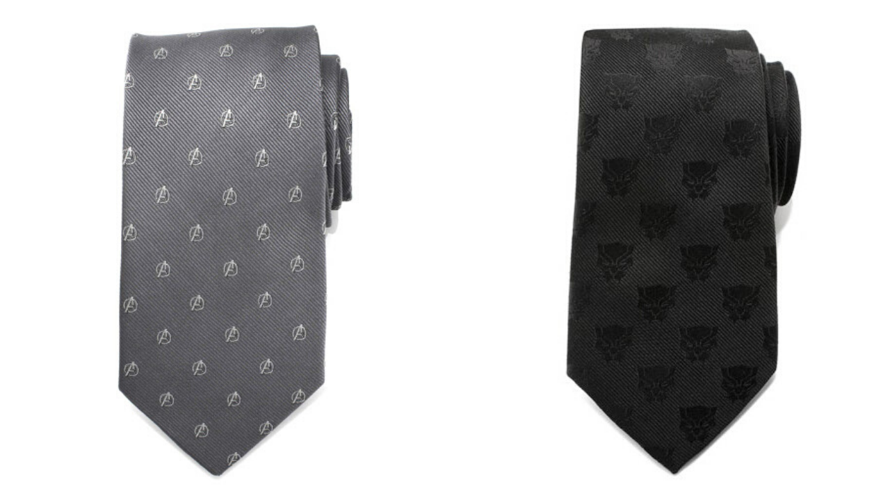 Avengers and Black Panther patterned ties