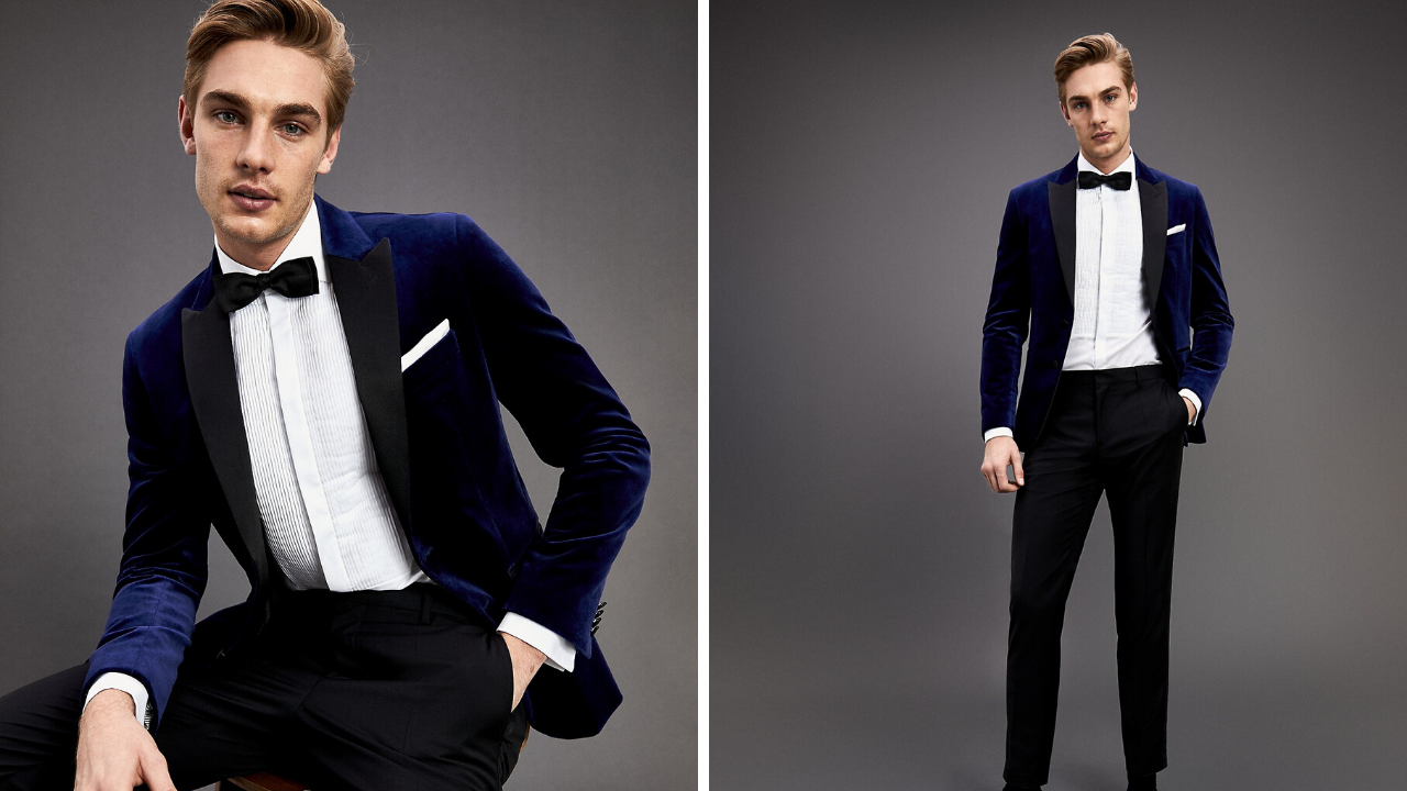 Blue velvet blazer for grooms