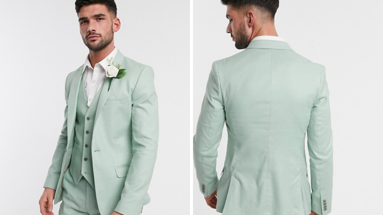 Colored groomsmen suit in mint green