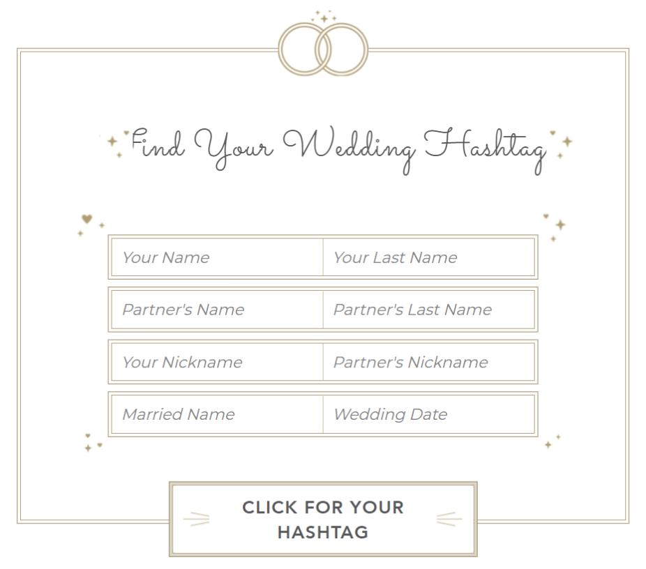 Wedding Hashtag Generator from Shutterfly