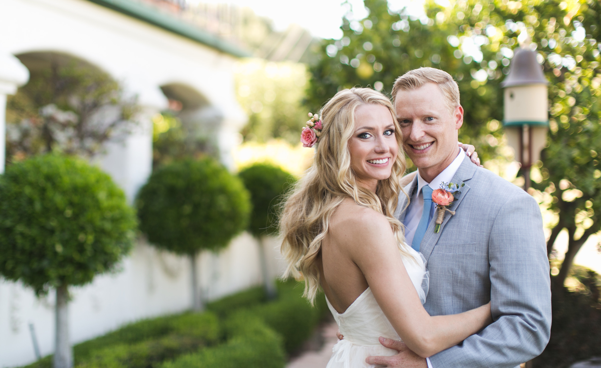 Couple in the garden - San Clemente - San Clemente, California - Orange County - Wedgewood Weddings