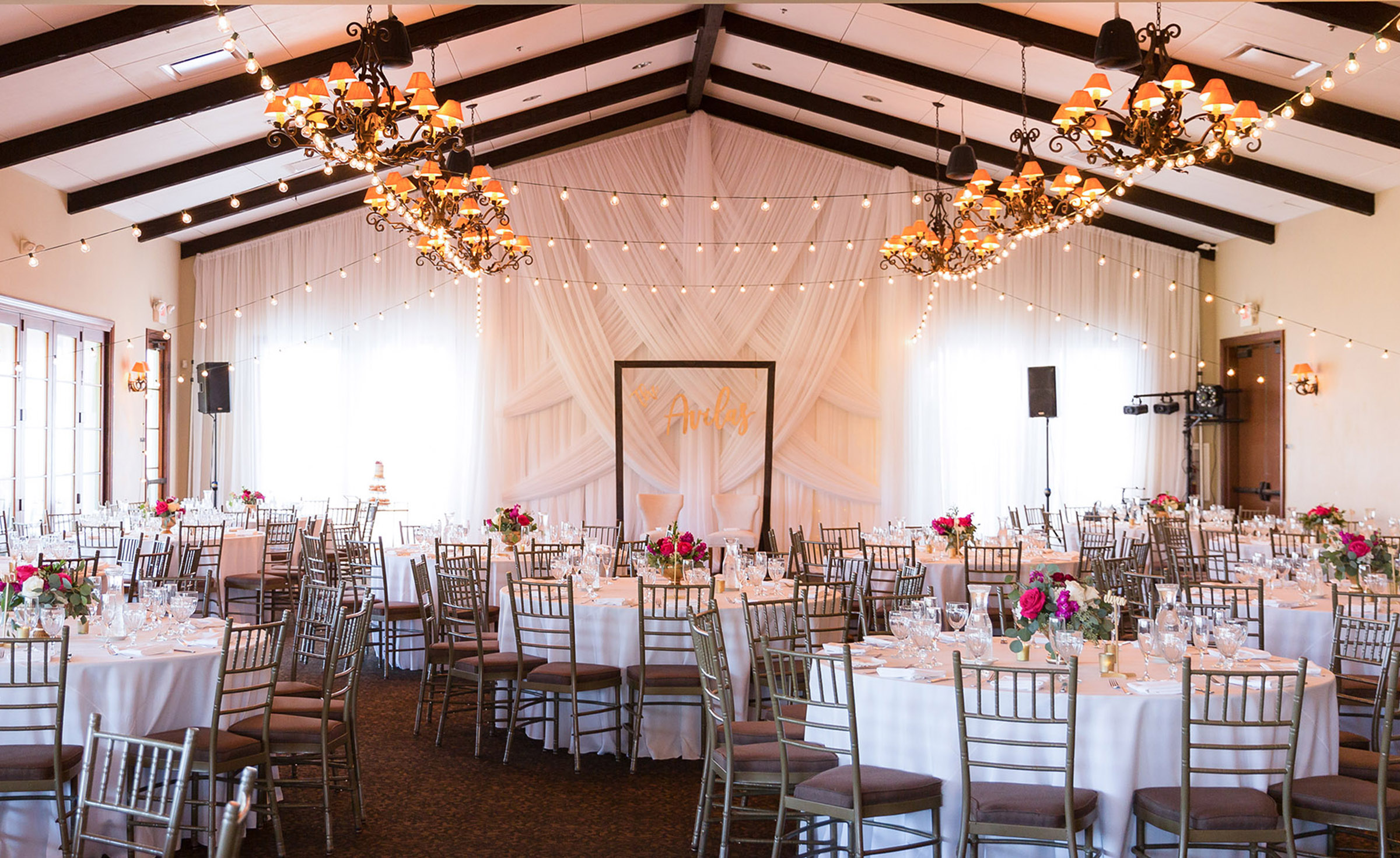 Indoor Reception Room with Market lights - San Clemente - San Clemente, California - Orange County - Wedgewood Weddings