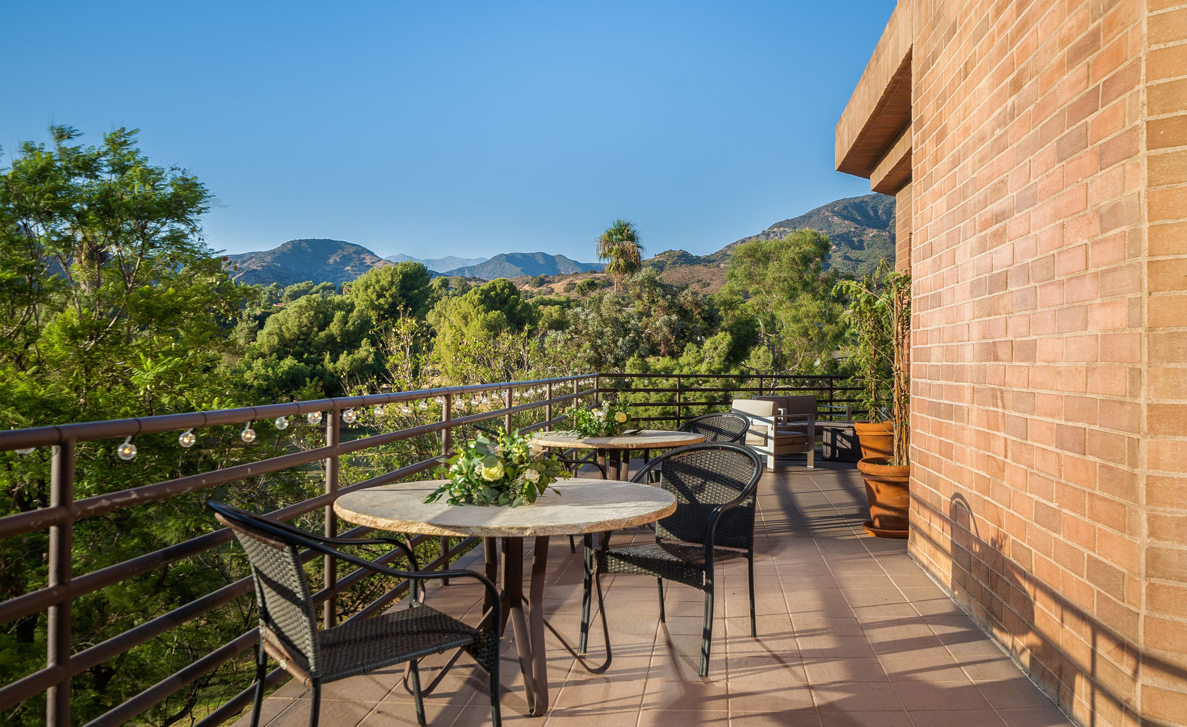 Cocktail patio with mountain views - Sierra La Verne - La Verne, California - Claremont Area - Los Angeles County - Wedgewood Weddings