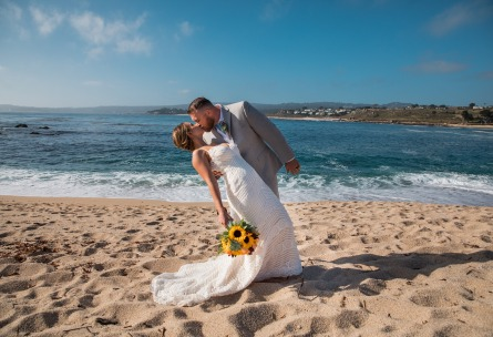 Dip kiss on the beach - Carmel - Carmel, California - Monterey County - Wedgewood Weddings